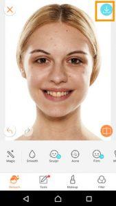 シワ取りアプリの写真を保存する